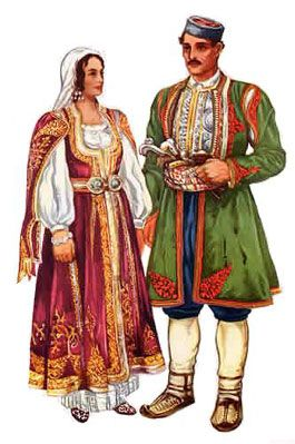 Male and female traditional Montenegrin costumes.